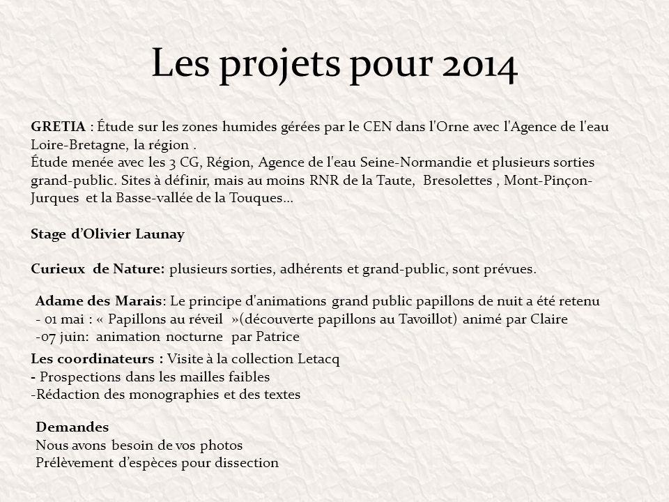 Les projets pour 2014 GRETIA : Étude sur les zones humides gérées par le CEN dans l'Orne avec l'Agence de l'eau Loire-Bretagne, la région. Étude menée