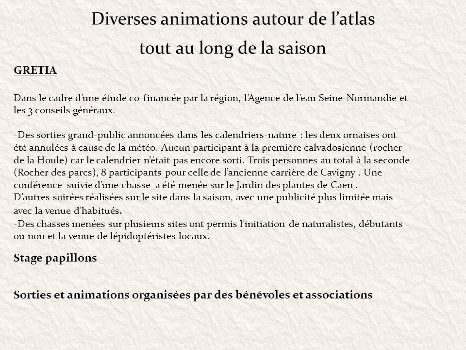 Diverses animations autour de latlas tout au long de la saison GRETIA Dans le cadre dune étude co-financée par la région, lAgence de leau Seine-Norman