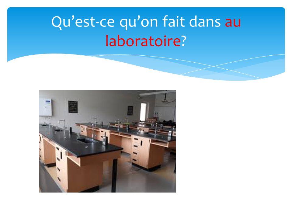 Quest-ce quon fait dans au laboratoire