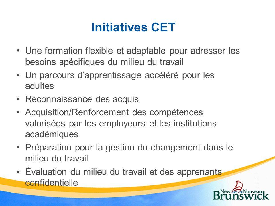 Initiatives CET Une formation flexible et adaptable pour adresser les besoins spécifiques du milieu du travail Un parcours dapprentissage accéléré pou
