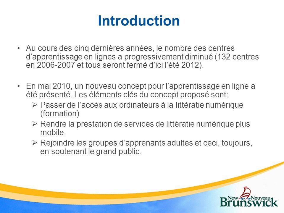 Introduction Au cours des cinq dernières années, le nombre des centres dapprentissage en lignes a progressivement diminué (132 centres en 2006-2007 et