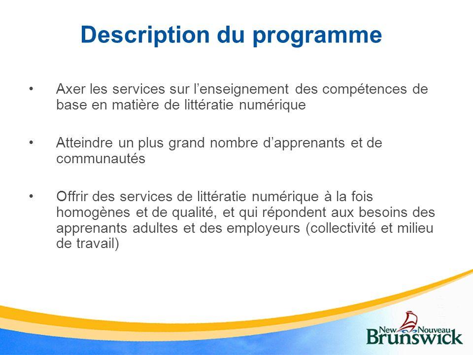 Description du programme Axer les services sur lenseignement des compétences de base en matière de littératie numérique Atteindre un plus grand nombre