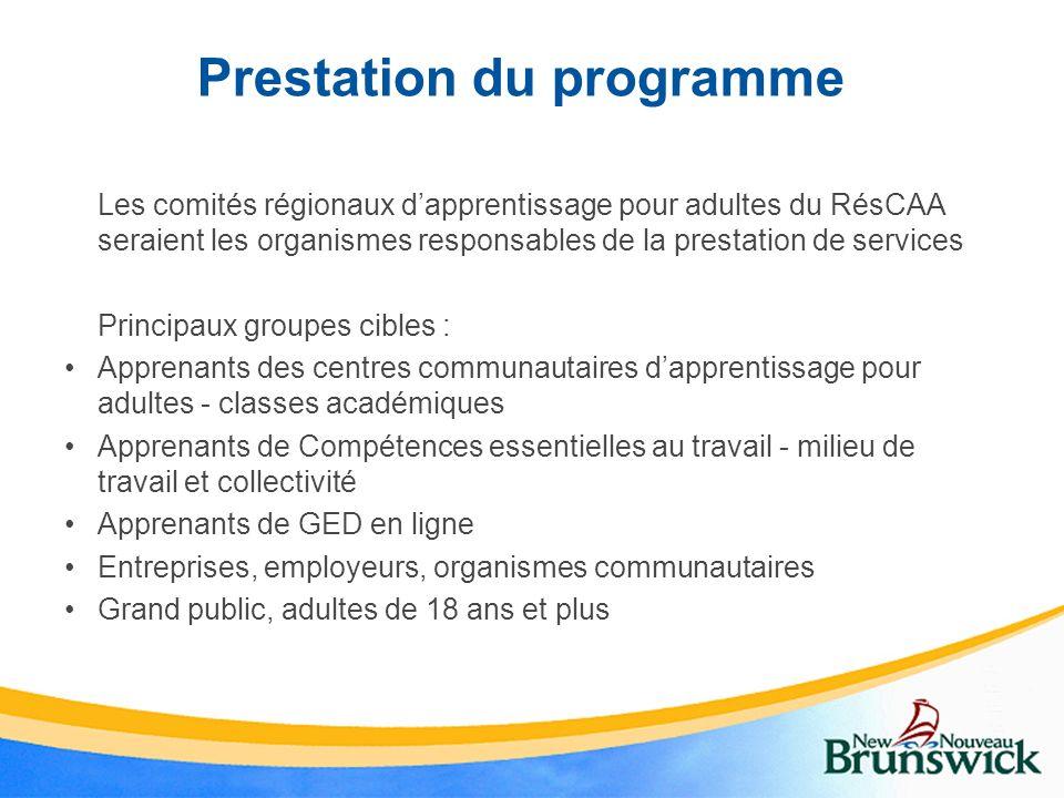 Prestation du programme Les comités régionaux dapprentissage pour adultes du RésCAA seraient les organismes responsables de la prestation de services