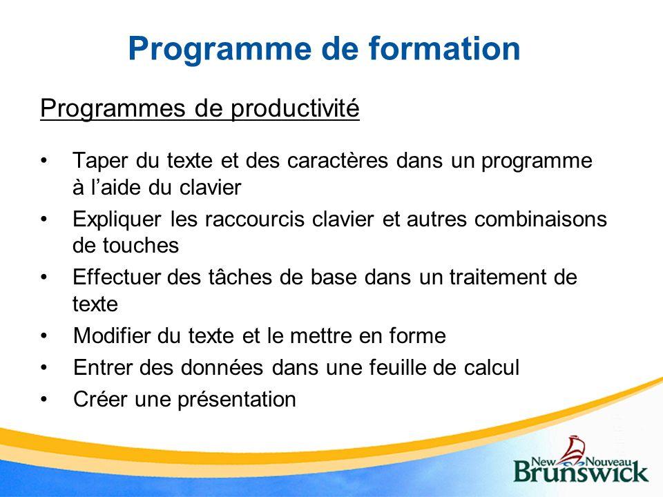 Programme de formation Programmes de productivité Taper du texte et des caractères dans un programme à laide du clavier Expliquer les raccourcis clavi