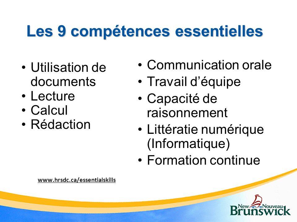 Les 9 compétences essentielles Utilisation de documents Lecture Calcul Rédaction Communication orale Travail déquipe Capacité de raisonnement Littérat