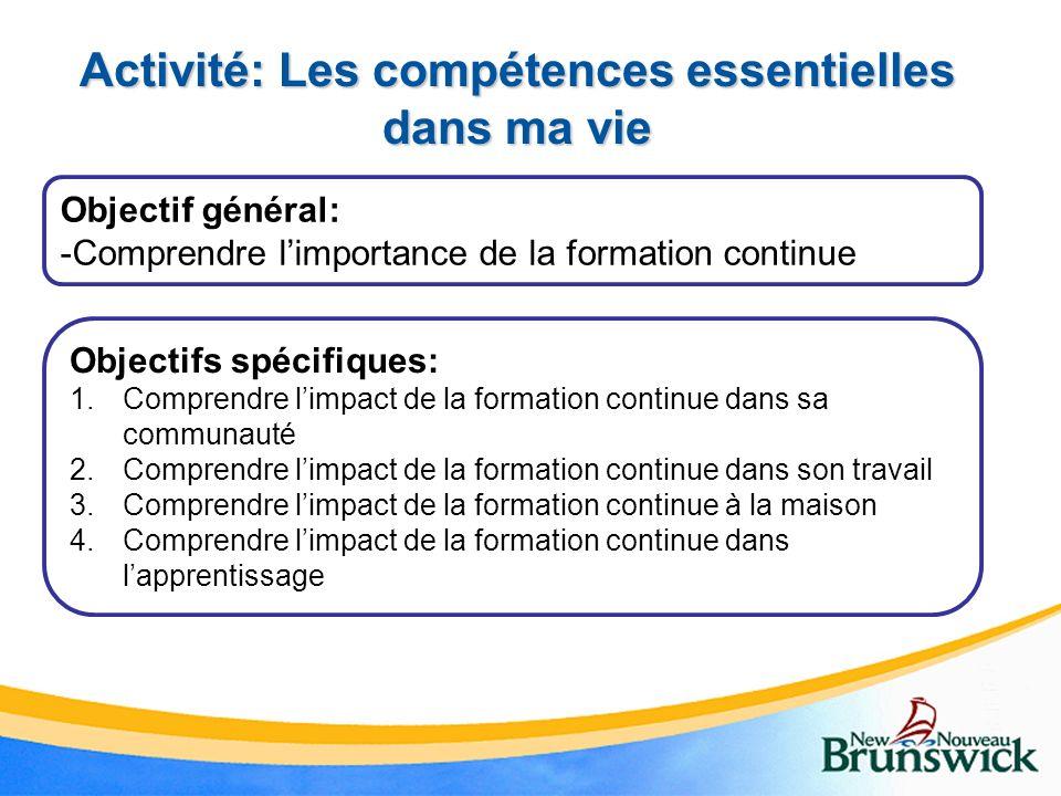 Activité: Les compétences essentielles dans ma vie Objectif général: -Comprendre limportance de la formation continue Objectifs spécifiques: 1.Compren