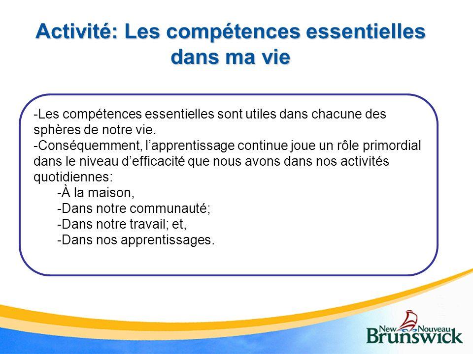Activité: Les compétences essentielles dans ma vie -Les compétences essentielles sont utiles dans chacune des sphères de notre vie. -Conséquemment, la
