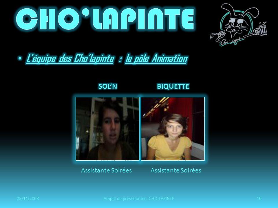 Assistante Soirées 05/11/200810Amphi de présentation CHOLAPINTE