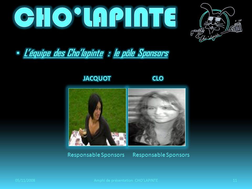 Responsable Sponsors 05/11/200811Amphi de présentation CHOLAPINTE