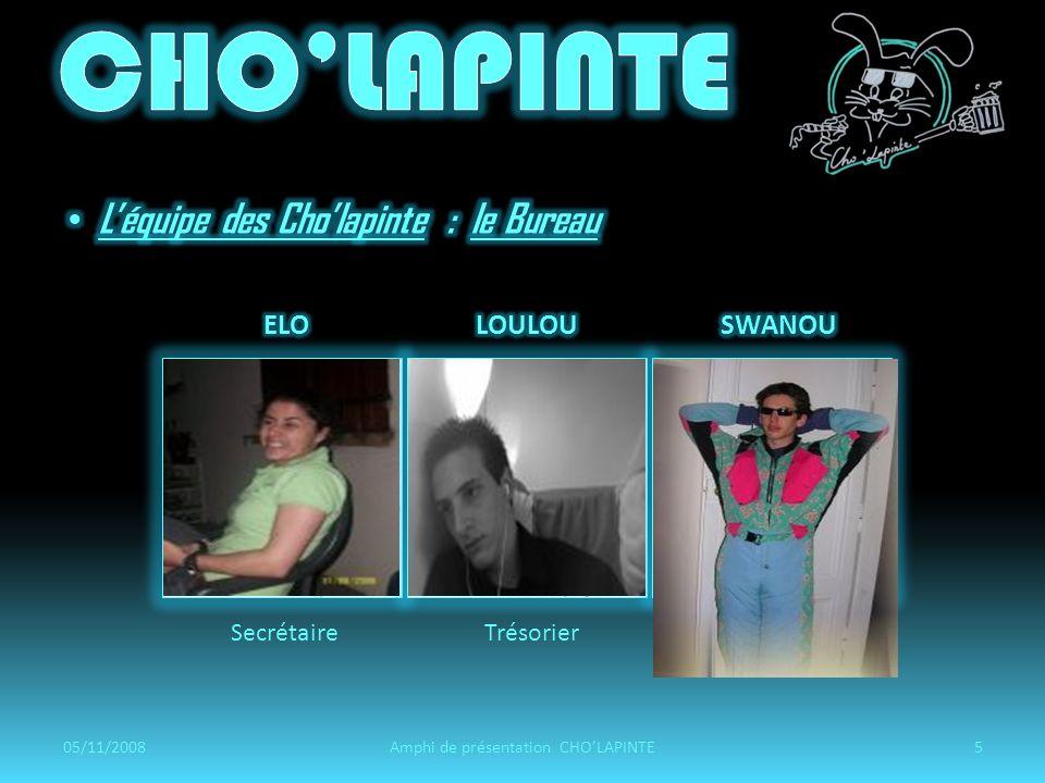 SecrétaireTrésorierVice-trésorier 05/11/20085Amphi de présentation CHOLAPINTE