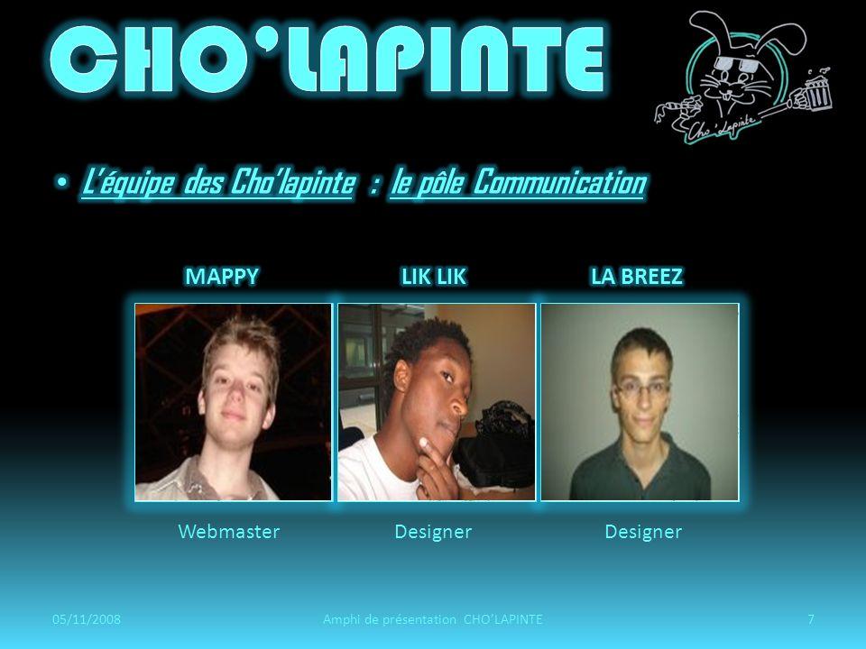 WebmasterDesigner 05/11/20087Amphi de présentation CHOLAPINTE