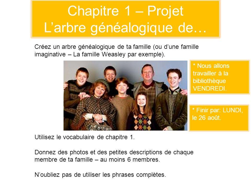 Chapitre 1 – Projet Larbre généalogique de… Créez un arbre généalogique de ta famille (ou dune famille imaginative – La famille Weasley par exemple).