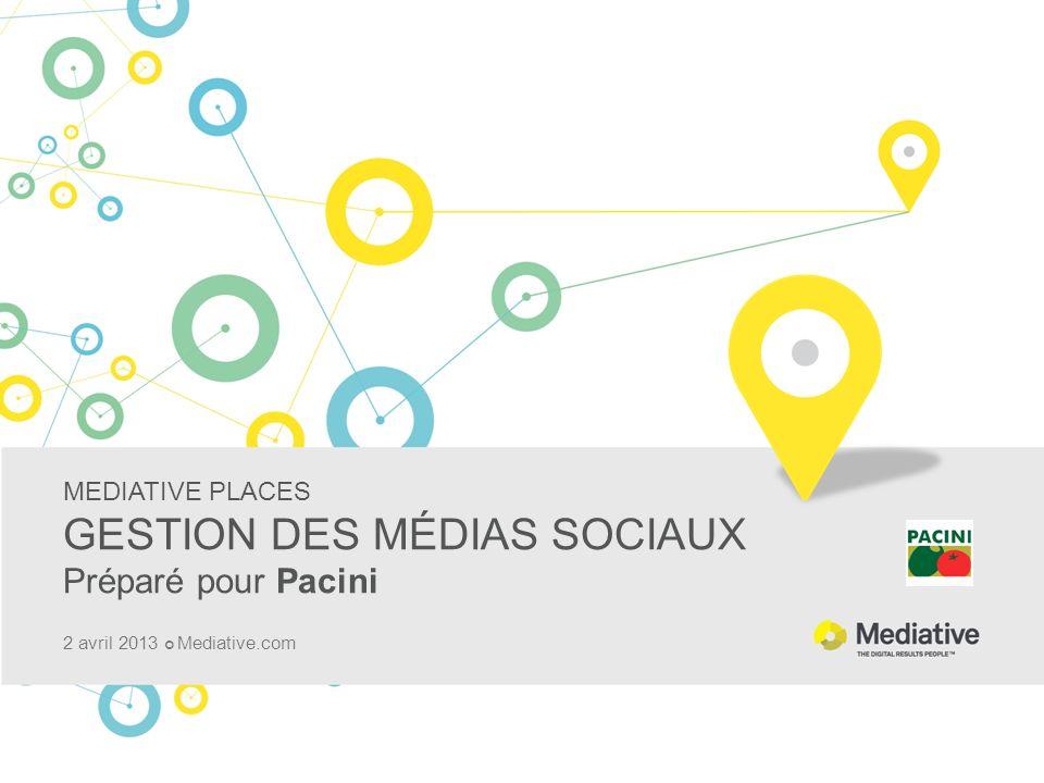 MEDIATIVE PLACES GESTION DES MÉDIAS SOCIAUX Préparé pour Pacini 2 avril 2013 Mediative.com