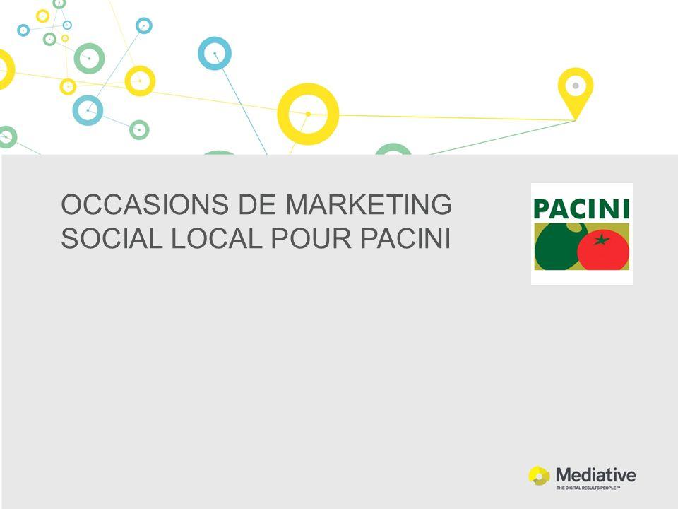 OCCASIONS DE MARKETING SOCIAL LOCAL POUR PACINI