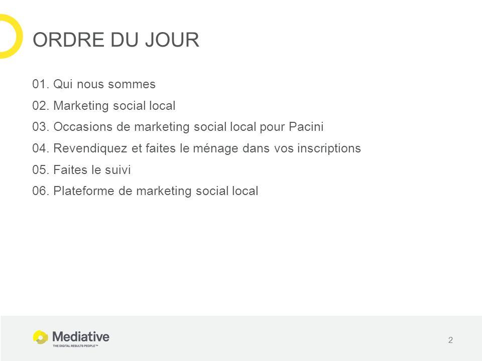 Publiez instantanément sur Facebook, Twitter et Foursquare à partir dune seule et même plateforme Plateforme centrale Au niveau du point de vente Soyez à lécoute de chaque point de vente Partagez les photos des utilisateurs Répondez aux clients Poussez des promotions FAITES LE SUIVI PARTAGEZ ET RÉAGISSEZ 23 Jérôme Belvisi: Au lieu de « point de vente » (générique), on pourrait parler de « restaurant » si le client est Pacini Jérôme Belvisi: Au lieu de « point de vente » (générique), on pourrait parler de « restaurant » si le client est Pacini