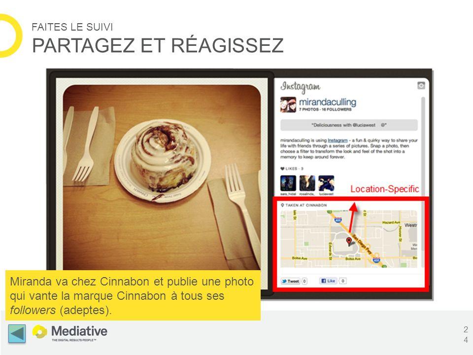 FAITES LE SUIVI PARTAGEZ ET RÉAGISSEZ Miranda va chez Cinnabon et publie une photo qui vante la marque Cinnabon à tous ses followers (adeptes). 24