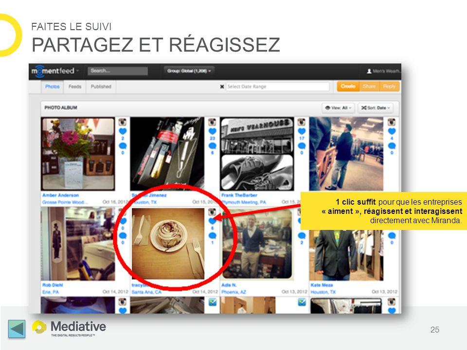 25 FAITES LE SUIVI PARTAGEZ ET RÉAGISSEZ 1 clic suffit pour que les entreprises « aiment », réagissent et interagissent directement avec Miranda.