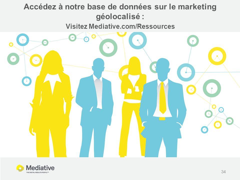 34 Accédez à notre base de données sur le marketing géolocalisé : Visitez Mediative.com/Ressources