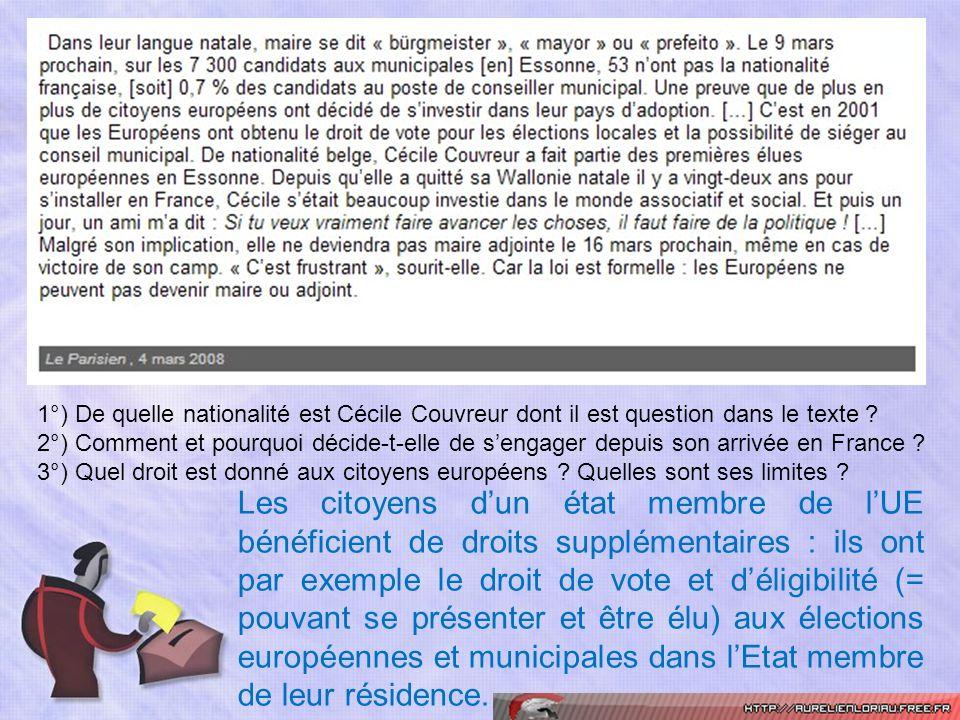 1°) De quelle nationalité est Cécile Couvreur dont il est question dans le texte ? 2°) Comment et pourquoi décide-t-elle de sengager depuis son arrivé