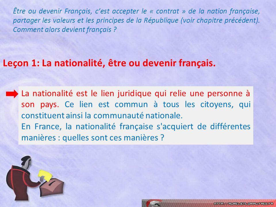 Être ou devenir Français, cest accepter le « contrat » de la nation française, partager les valeurs et les principes de la République (voir chapitre p
