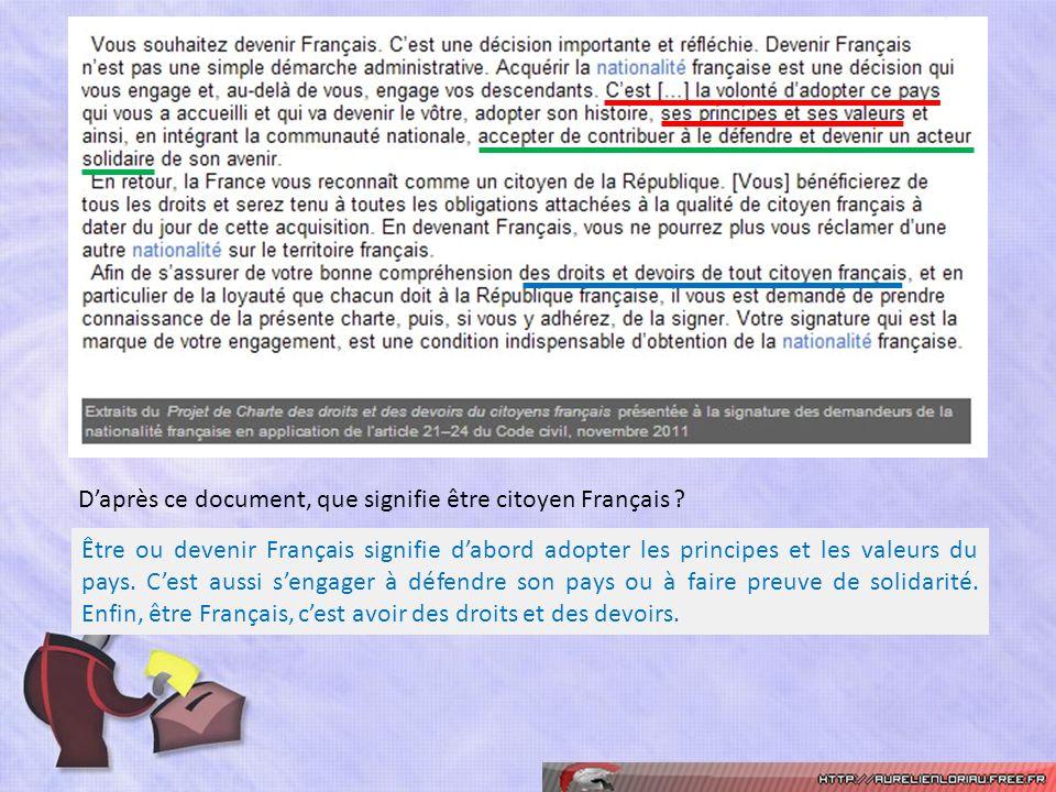 Daprès ce document, que signifie être citoyen Français ? Être ou devenir Français signifie dabord adopter les principes et les valeurs du pays. Cest a