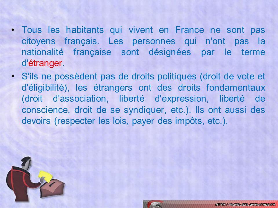 Tous les habitants qui vivent en France ne sont pas citoyens français. Les personnes qui n'ont pas la nationalité française sont désignées par le term