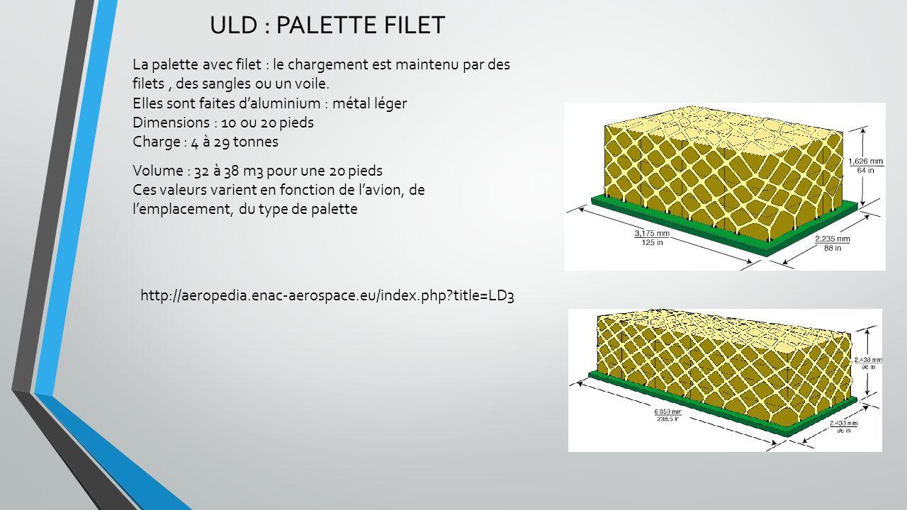 ULD :CONTENEURS AERIENS Pour rationnaliser, tout le fret est conteneurisé : « avions prévus pour les ULD » On distingue : - Les conteneurs de soute - Les conteneurs de pont Certaine ULD peuvent être utilsées sur plusieurs avions différents.