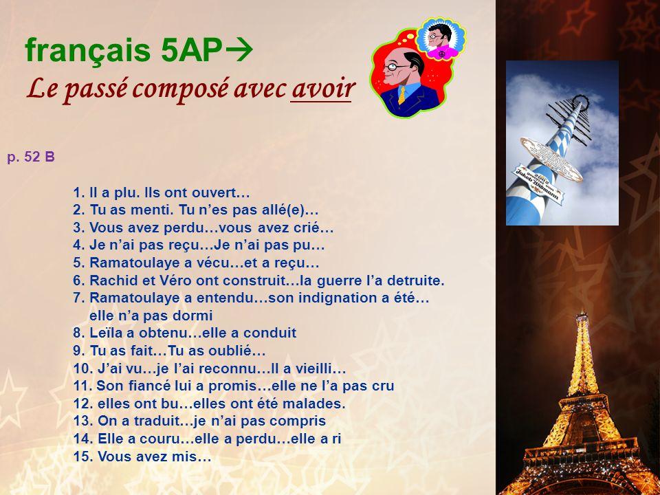 français 5AP Le passé composé avec avoir Devoirs p.