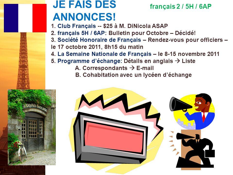 français 5H le 12 octobre 2011 ActivitéClasseur I.