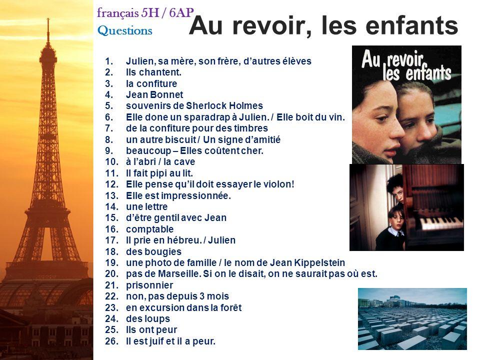 français 5H le 12 octobre 2011 ActivitéClasseur I. Compétition Franco-Amérique de Fulbright II. Finissons de regarder « Au revoir, les enfants » et di