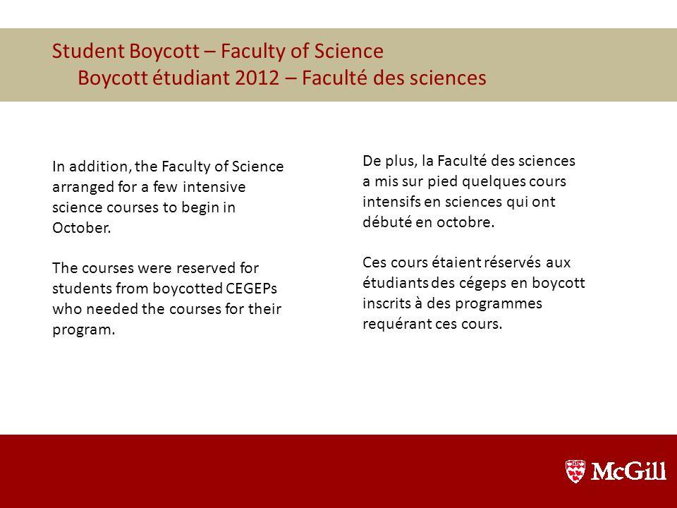 Les étudiants acceptés à McGill qui provenaient d'un cégep où le trimestre H12 s'est terminé en octobre se sont vu offrir plusieurs choix : Commencer