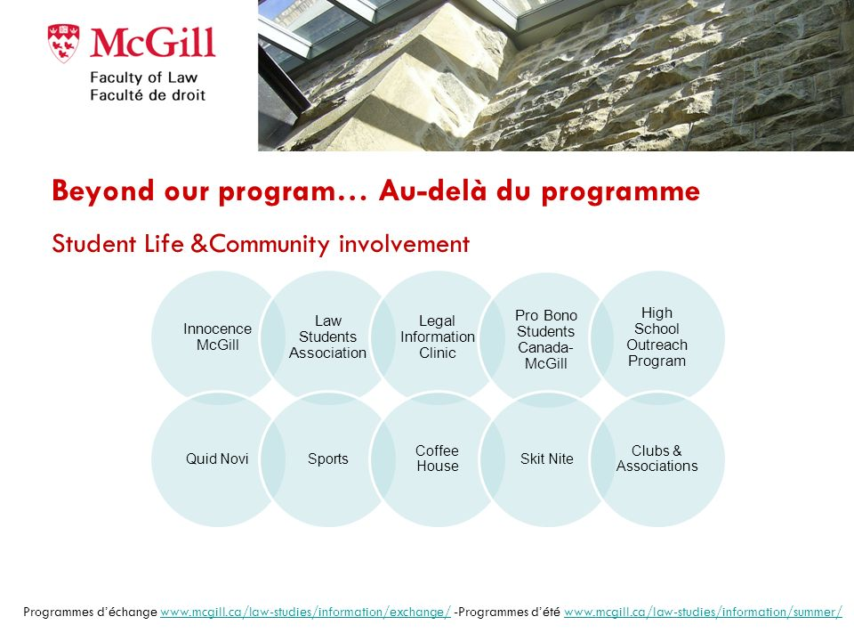 B.C.L./LL.B. survol: 105 credits Required courses – First year (terms I & II) 29 credits Civil Law Property (5) Constitutional Law (6) Contractual Obl