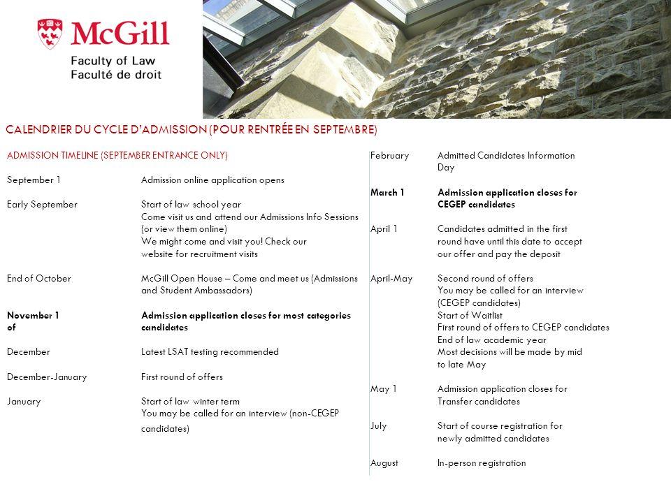 Application deadlines for September 2013 – dates limites pour rentrée 2013 University, Mature and Advanced Standing Candidates November 1st, 2012 subm