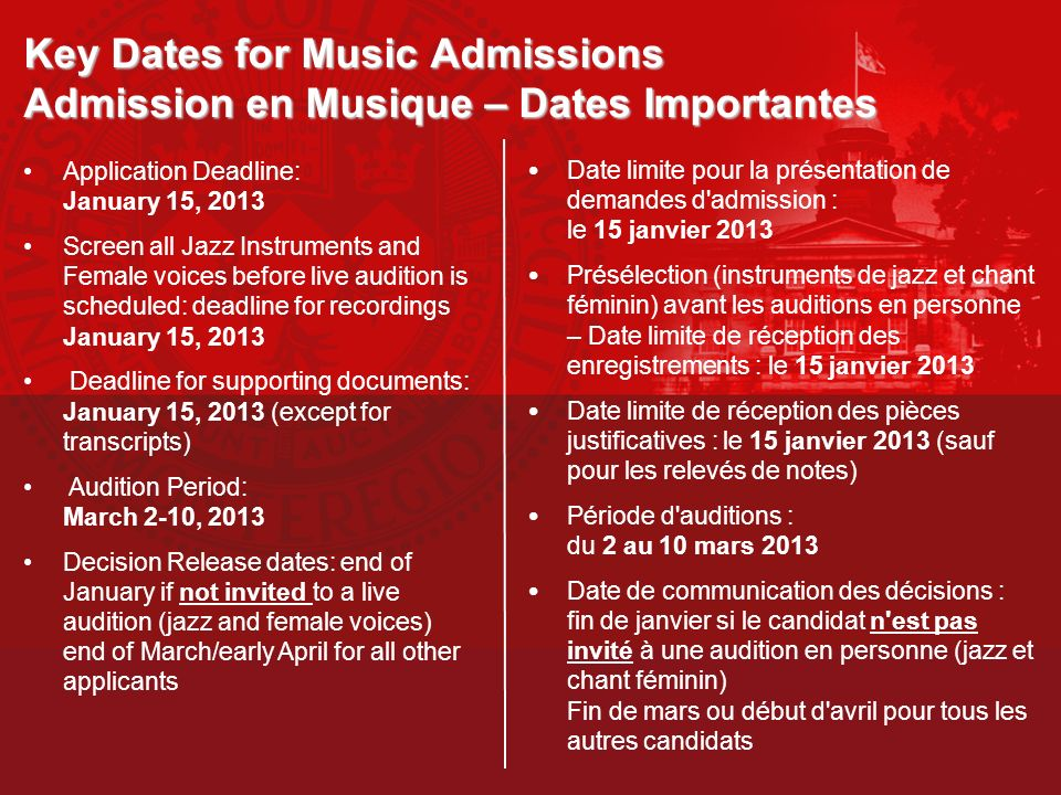 Graduate Programs Programmes de deuxième et troisième cycle Performance Department MMus Performance DMus Performance Graduate Diploma in Professional