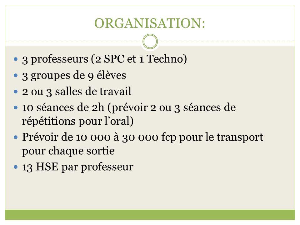 ORGANISATION: 3 professeurs (2 SPC et 1 Techno) 3 groupes de 9 élèves 2 ou 3 salles de travail 10 séances de 2h (prévoir 2 ou 3 séances de répétitions
