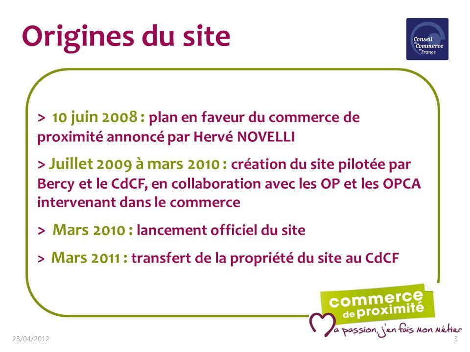 Origines du site > 10 juin 2008 : plan en faveur du commerce de proximité annoncé par Hervé NOVELLI > Juillet 2009 à mars 2010 : création du site pilo