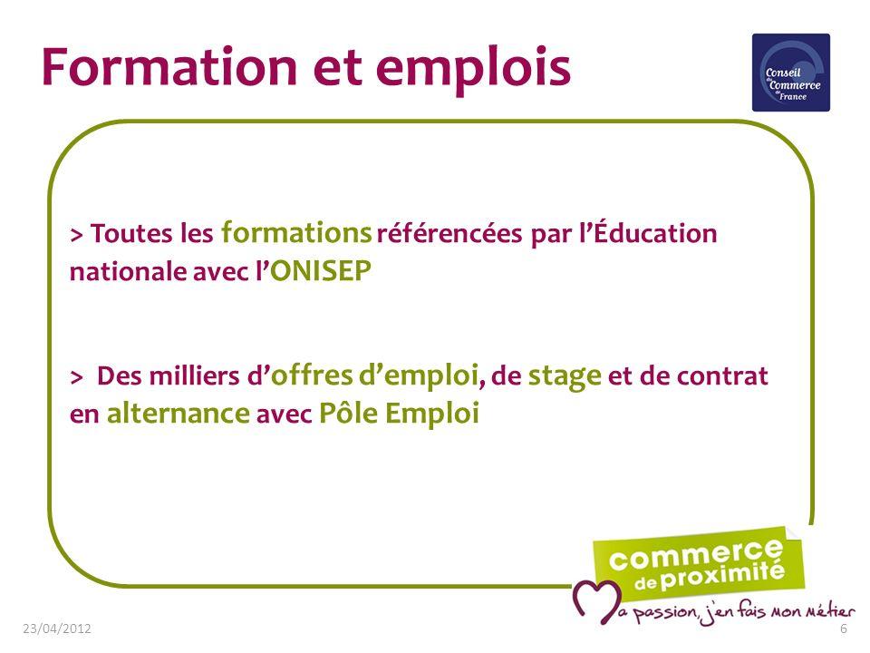 Formation et emplois > Toutes les formations référencées par lÉducation nationale avec l ONISEP > Des milliers d offres demploi, de stage et de contra