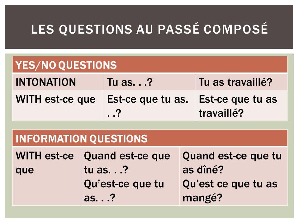 LES QUESTIONS AU PASSÉ COMPOSÉ YES/NO QUESTIONS INTONATIONTu as...?Tu as travaillé.
