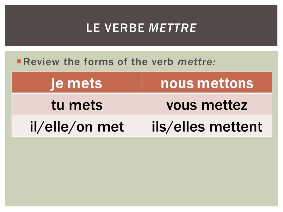 Review the forms of the verb mettre: LE VERBE METTRE je metsnous mettons tu metsvous mettez il/elle/on metils/elles mettent