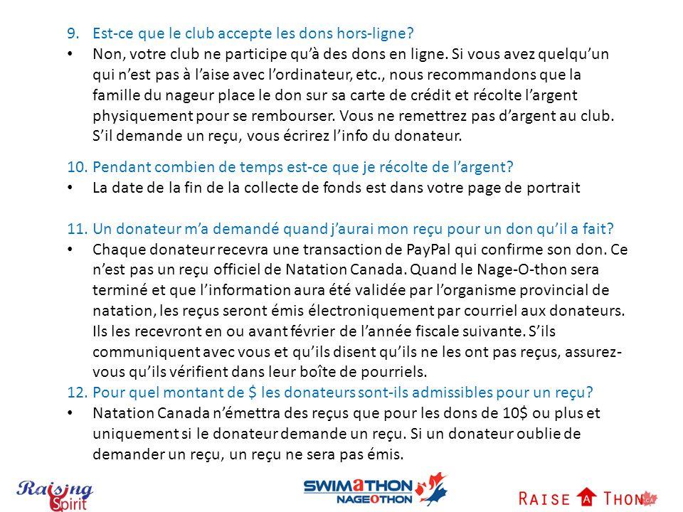 9.Est-ce que le club accepte les dons hors-ligne.
