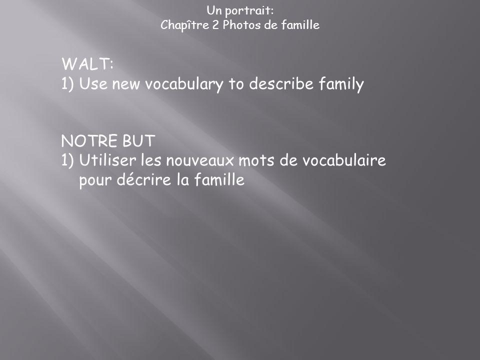 Un portrait: Chapître 2 Photos de famille WALT: 1)Use new vocabulary to describe family NOTRE BUT 1)Utiliser les nouveaux mots de vocabulaire pour déc