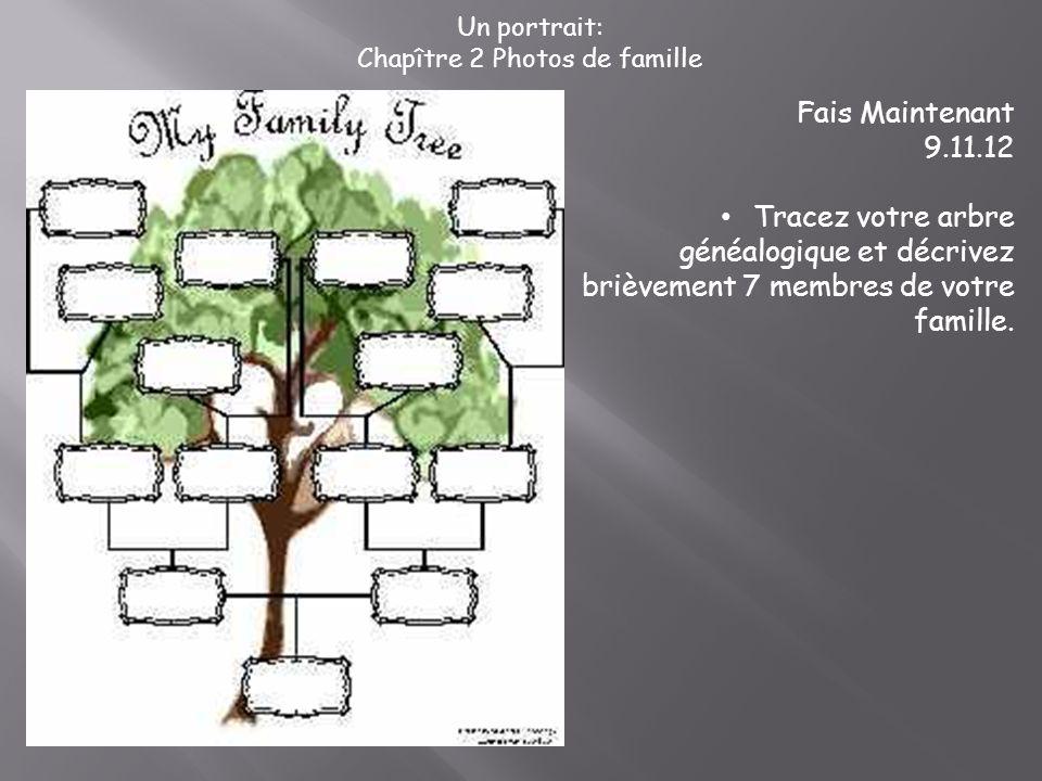 Un portrait: Chapître 2 Photos de famille Fais Maintenant 9.11.12 Tracez votre arbre généalogique et décrivez brièvement 7 membres de votre famille.