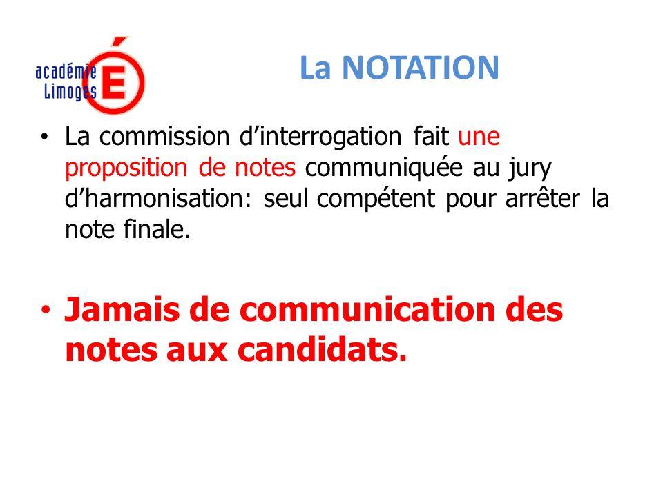 La NOTATION La commission dinterrogation fait une proposition de notes communiquée au jury dharmonisation: seul compétent pour arrêter la note finale.