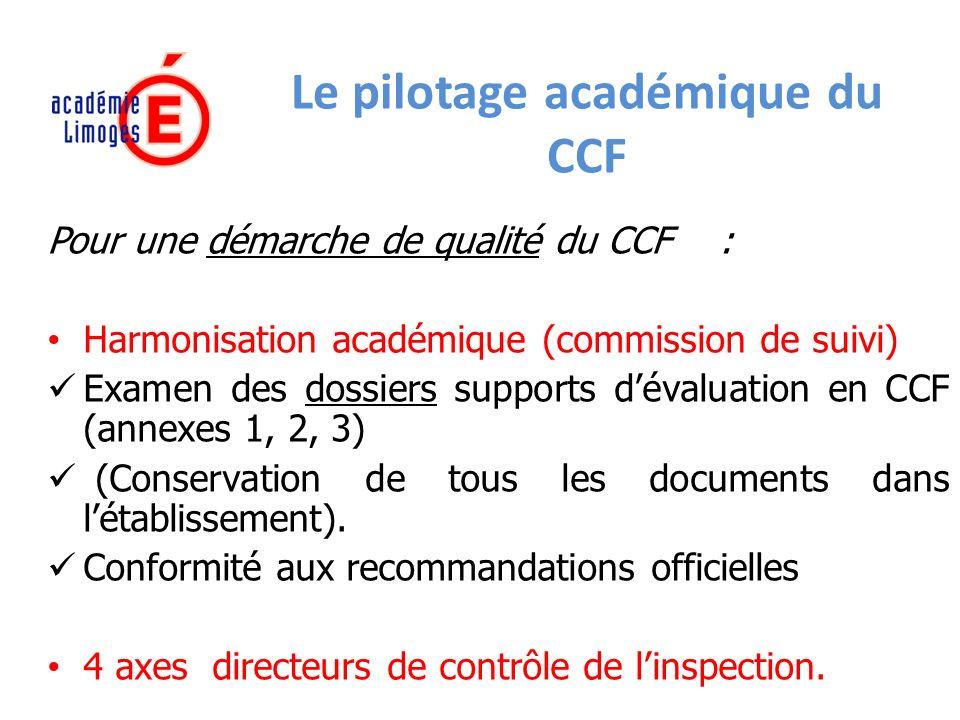 Le pilotage académique du CCF Pour une démarche de qualité du CCF : Harmonisation académique (commission de suivi) Examen des dossiers supports dévaluation en CCF (annexes 1, 2, 3) (Conservation de tous les documents dans létablissement).