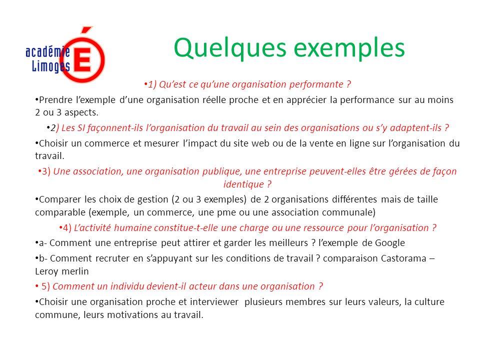 Quelques exemples 1) Quest ce quune organisation performante .
