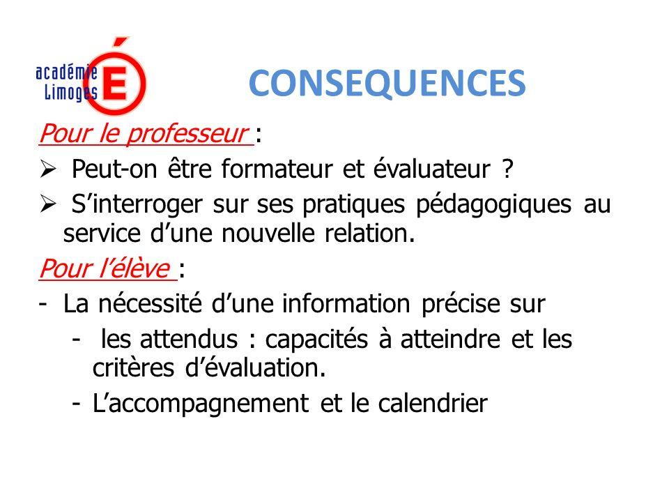 CONSEQUENCES Pour le professeur : Peut-on être formateur et évaluateur .