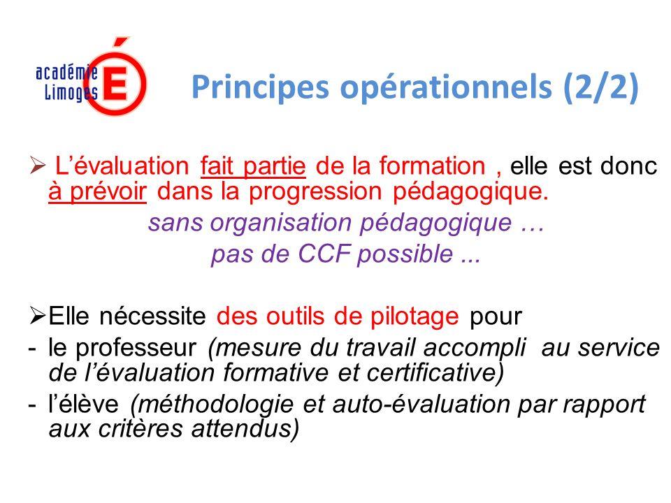 Principes opérationnels (2/2) Lévaluation fait partie de la formation, elle est donc à prévoir dans la progression pédagogique.
