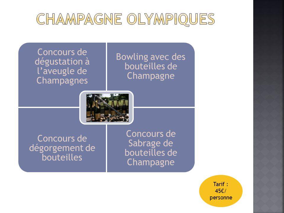 Concours de dégustation à laveugle de Champagnes Bowling avec des bouteilles de Champagne Concours de dégorgement de bouteilles Concours de Sabrage de bouteilles de Champagne Tarif : 45/ personne