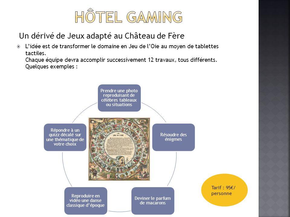 Un dérivé de Jeux adapté au Château de Fère Lidée est de transformer le domaine en Jeu de lOie au moyen de tablettes tactiles.