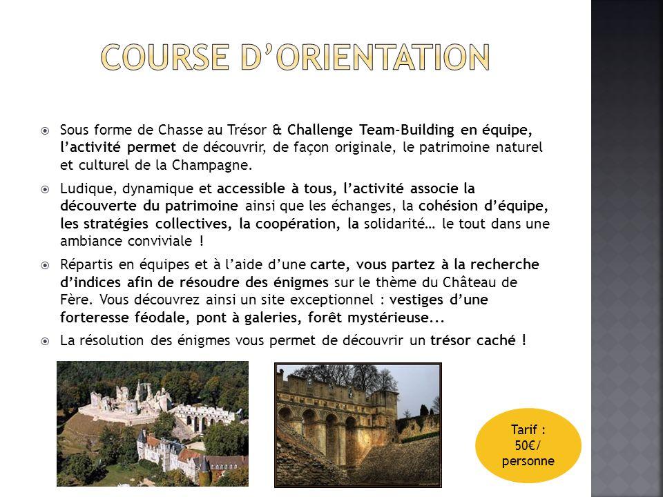 Sous forme de Chasse au Trésor & Challenge Team-Building en équipe, lactivité permet de découvrir, de façon originale, le patrimoine naturel et culturel de la Champagne.
